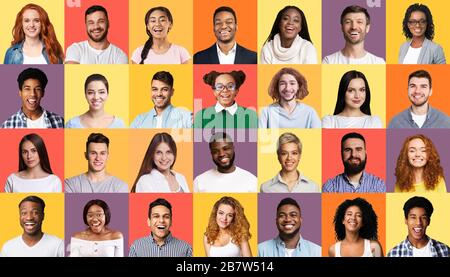 Collage Of Multiracial Successful Millennials People On Colorful Backgrounds