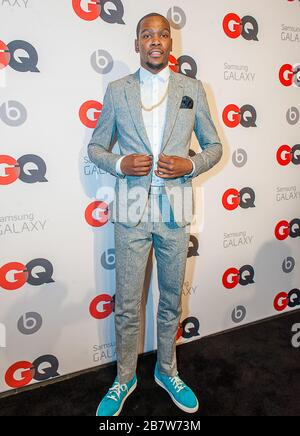 ***FILE PHOTO*** Kevin Durant Among Four Nets NBA Players With Coronavirus. NEW ORLEANS, LA - FEBRUARY 15: NBA Player Kevin Durant (Oklahoma City Thunders) posing at the GQ & Lebron James NBA All Star Style party sponsored by Samsung Galaxy on Saturday, February 15, 2014, at the Ogden Museum of Southern Art in New Orleans, Louisiana with live jam session from grammy Award-winning Artist The Roots. Photo Credit:RTNEscanelle/MediaPunch - Stock Photo