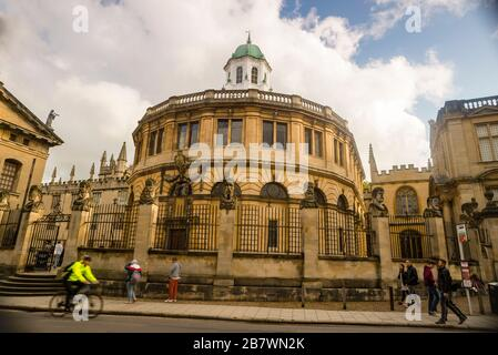 The Sheldonian Theater in Oxford, England is an iconic building designed by Christopher Wren for Oxford University.