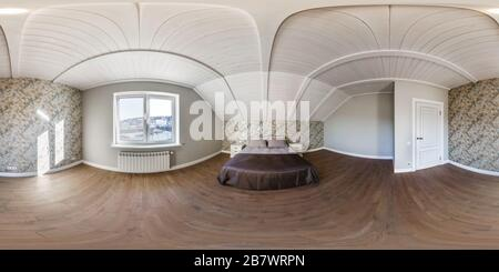full seamless hdri panorama 360 angle in white empty bedroom apartment and wooden rafter ceiling in vacation homestead house in equirectangular spheri - Stock Photo