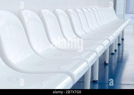 Hospitals prepare for coronavirus COVID-19. Empty white seats of public place. Quarantine concept. Tighten borders all over the world. nCov spreads