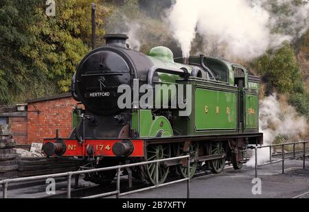The Age of Steam, Vintage Steam Locomotives on the Severn Valley Railway at Bewdley, Worcs. - Stock Photo