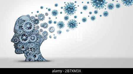 Pandemic fear psychology and anxiety of virus contagion or psychological fears of disease or contagious infections with 3D illustration elements. - Stock Photo