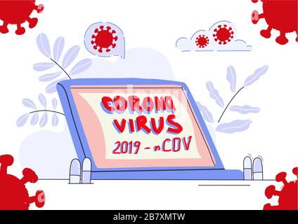 Corona Virus 2019 - nCOV vector text on a computer screen. Banner, poster medical news. Flat vector illustration.