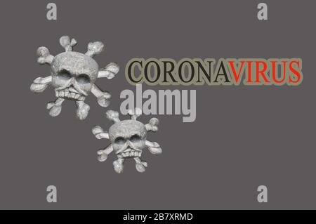 Abstract virus strain model of MERS-Cov or middle East respiratory syndrome coronavirus and Novel coronavirus 2019-nCoV with text on grey background. - Stock Photo