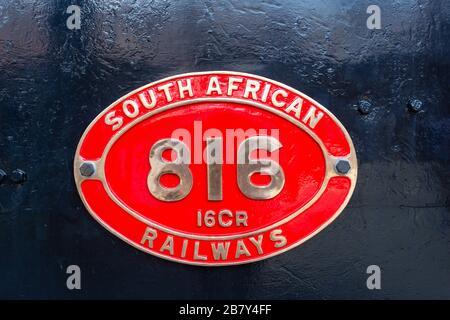 Engine badge on Class 16 steam locomotive at Heidelberg Heritage Museum, Voortrekker Street, Heidelberg, Gauteng Province, Republic of South Africa