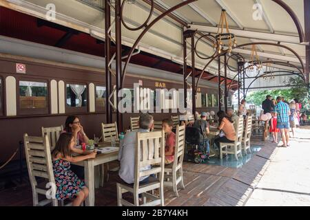 Cafe restaurant at Class 16 steam locomotive at Heidelberg Heritage Museum, Voortrekker Street, Heidelberg, Gauteng Province, Republic of South Africa