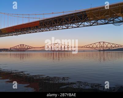 dh Rail Road Bridges RIVER FORTH FORTH BRIDGE Scottish two bridges across river Forth Scotland uk