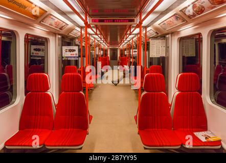 PRAGUE-March 18:Empty train of Prague subway-metro during rush hour, the impact of travel restrictions during coronavirus pandemic on March 18, 2020 i