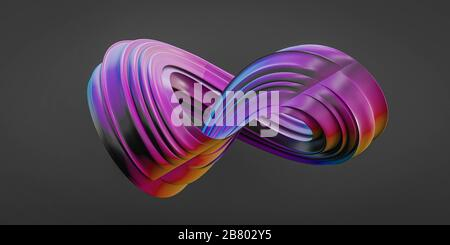colorful futuristic curvy torus textured object on dark background 3D rendering illustration