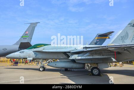 Singapore - Feb 10, 2018. USAF Boeing FA-18 Super Hornet standing for display in Changi, Singapore. Defense costs are increasing, especially in East A - Stock Photo