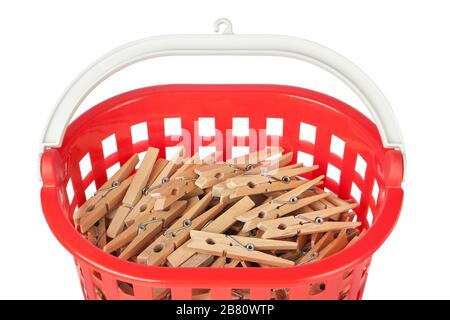 Set of clothespins in the red basket. Closeup. - Stock Photo