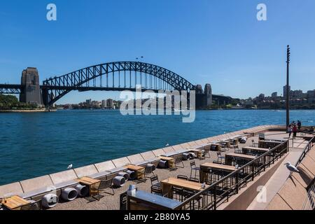 Opera Bar, Circular Quay, in Sydney's Central Business District is very empty as a result of the Coronavirus Outbreak, with very few customers aroun