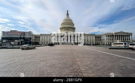 WASHINGTON D.C., USA - JANUARY 30, 2020: United States Capitol Building in Washington DC. US government monument in capital. National politics power,