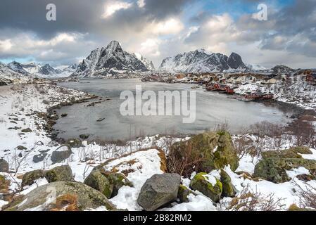 Reine is the most beautiful fisherman village in Lofoten , Norway - Stock Photo