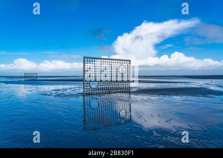 Soccer field, football field, goals, on the beach, Priel, in the west of Borkum, island, East Frisia, winter, season, autumn, Lower Saxony, Germany, - Stock Photo