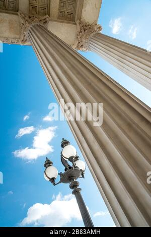 Detail of the colonnade with a streetlight