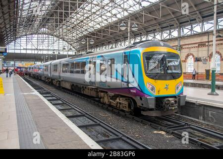 TransPennine Express Class 185 Desiro, diesel multiple-unit train at Piccadilly Station, Manchester, England - Stock Photo