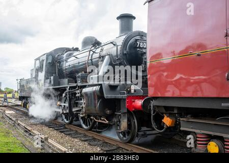 British Railways Standard Class 2 built at Darlington in 1953, 2-6-0 steam engine number 78018, Great Central Railway, Quorn, Leicestershire - Stock Photo
