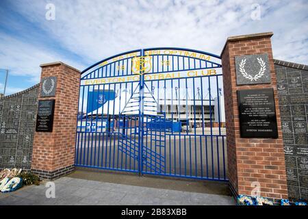 Everton Football club and surrounding business during the Coronavirus outbreak - Stock Photo
