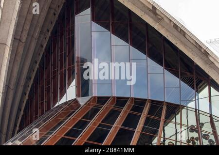 Closeup of the architecture of the Opera House in Sydney Australia - Stock Photo