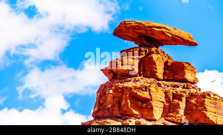 Close-up of the sombrero-shaped rock outcropping on the northeast edge of the town named Mexican Hat, Utah, USA