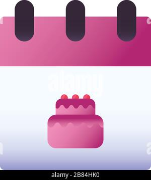 Sweet cake inside calendar gradient style icon design, dessert food delicious sugar snack and tasty theme Vector illustration - Stock Photo