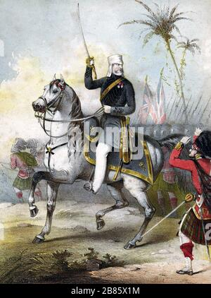 HENRY HAVELOCK (1795-1857) British Army general en route to the relief of Cawnpore in 1857 Stock Photo
