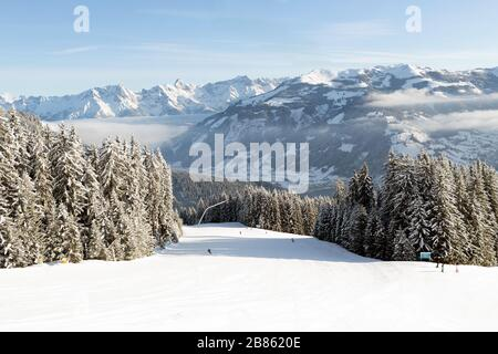Ski slopes and snow covered fir trees in Zell Am See resort in Austria. - Stock Photo