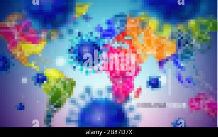 Covid-19. Coronavirus Outbreak Design with Virus Cell in Microscopic View on Abstract Colorful World Map Background. Dangerous SARS Epidemic Vector - Stock Photo