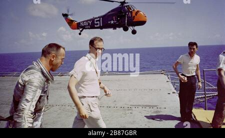 Astronaut Alan B. Shepard is seen on the deck of the U.S.S. Lake Champlain after the recovery of his Freedom 7 Mercury space capsule. - Stock Photo
