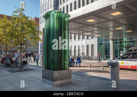 Berlin, Mitte .Glass sculpture at entrance of Charite cental building on the Charité Hospital Campus, - Stock Photo