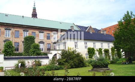 COPENHAGEN, DENMARK - JUL 04th, 2015: Royal Library Gardens, Christiansborg Palace in Copenhagen, small oasis in the heart of the city - Stock Photo