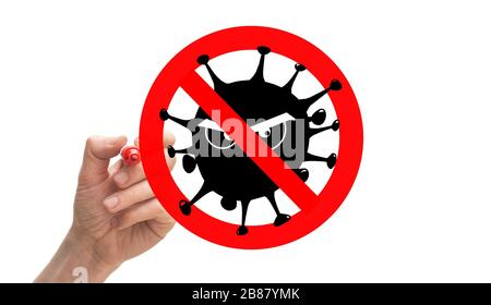 Stop sign around the drawing of a virus withmean eyes - Stock Photo