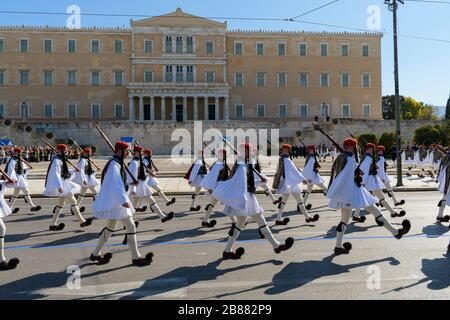 Athens Greece - March 1 2020: Presidential guard soldiers (Evzones, Tsolias) parade for the official changing of the guards happening every Sunday at - Stock Photo