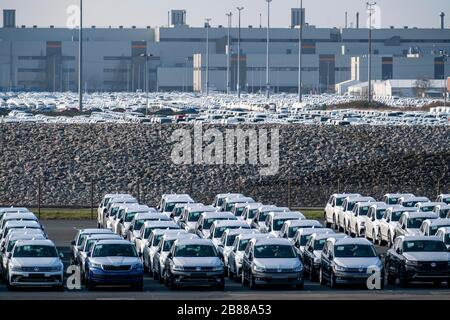 VW plant, Emden, new cars, waiting to be shipped, Lower Saxony, Germany,