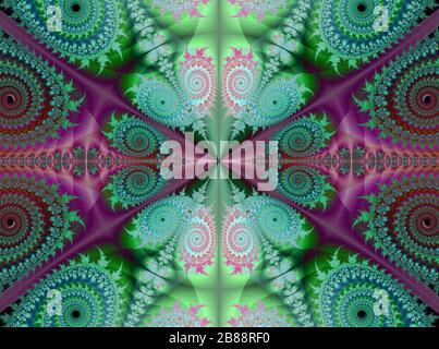 Image of beautiful metallic colours fractal flowers designed background. - Stock Photo