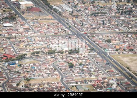Johannesburg, South Africa - December 1, 2019 - aerial view of middle class residential area