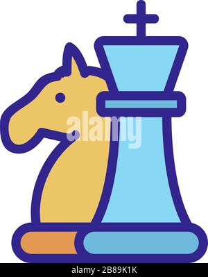 the chess pieces horse icon vector outline illustration - Stock Photo