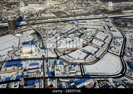 , shopping centre CentrO in Oberhausen with Gasometer Oberhausenin winter, 06.01.2009, aerial view, Germany, North Rhine-Westphalia, Ruhr Area, Oberhausen - Stock Photo