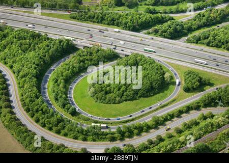 highway junction Bottrop of A2 and A31, 09.05.2011, aerial view, Germany, North Rhine-Westphalia, Ruhr Area, Bottrop - Stock Photo