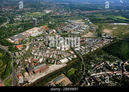 , Neue Mitte in Oberhausen with commercial area, shopping centre CentrO and Gasometer, 19.09.2011, aerial view, Germany, North Rhine-Westphalia, Ruhr Area, Oberhausen - Stock Photo