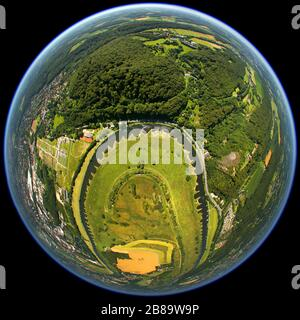 , river bend of Ruhr with conservation area Ruhraue Hattingen-Winz, 05.07.2011, aerial view, Germany, North Rhine-Westphalia, Ruhr Area, Hattingen - Stock Photo