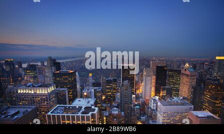 skyscrapers of the Midtown Center of Manhattan and New York's Central Park, 12.04.2009, aerial view, USA, New York City - Stock Photo