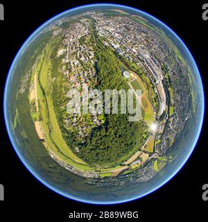 city center of Arnsberg with forest Eichholz and river Ruhr, 02.08.2011, aerial view, Germany, North Rhine-Westphalia, Sauerland, Arnsberg - Stock Photo