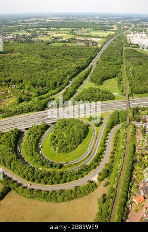 , highway junction Bottrop of A2 and A31, 09.05.2011, aerial view, Germany, North Rhine-Westphalia, Ruhr Area, Bottrop - Stock Photo
