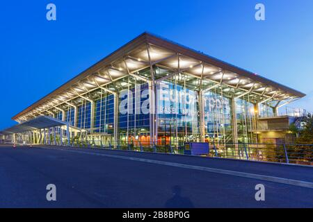 Mulhouse, France – August 31, 2019: Terminal of EuroAirport Basel Mulhouse Airport (EAP) in France. - Stock Photo