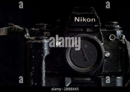 Battered Nikon F3 camera body and motor drive