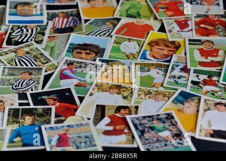 A selection of The wonderful world of soccer stars in action football player cards from FKS Publishers. UK.1970s - Stock Photo