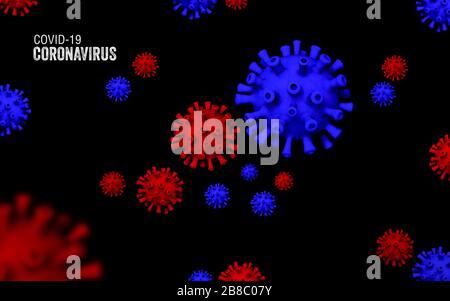 Coronavirus outbreak, Covid-19, Concept of microbiology and virology. 3D image - Stock Photo